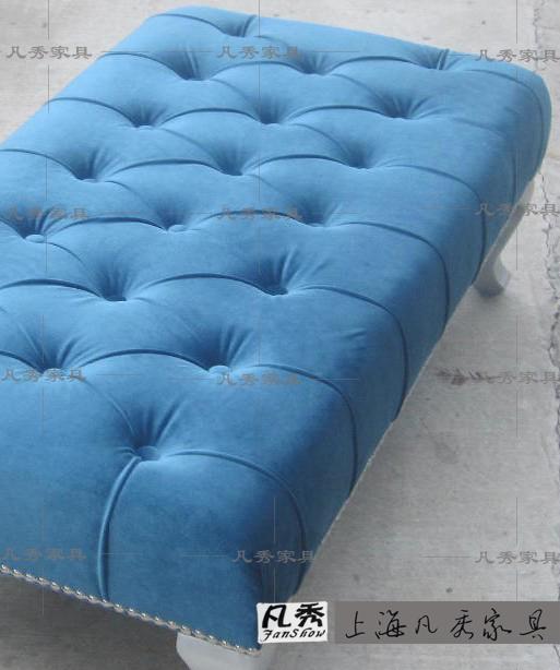 凡秀 欧式矮凳 长方脚凳 换鞋凳高档沙发面料 可换面料