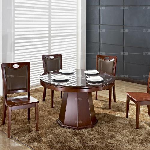 好力屋 高档餐桌椅 简约 圆形实木餐桌 圆形玻璃面 餐桌